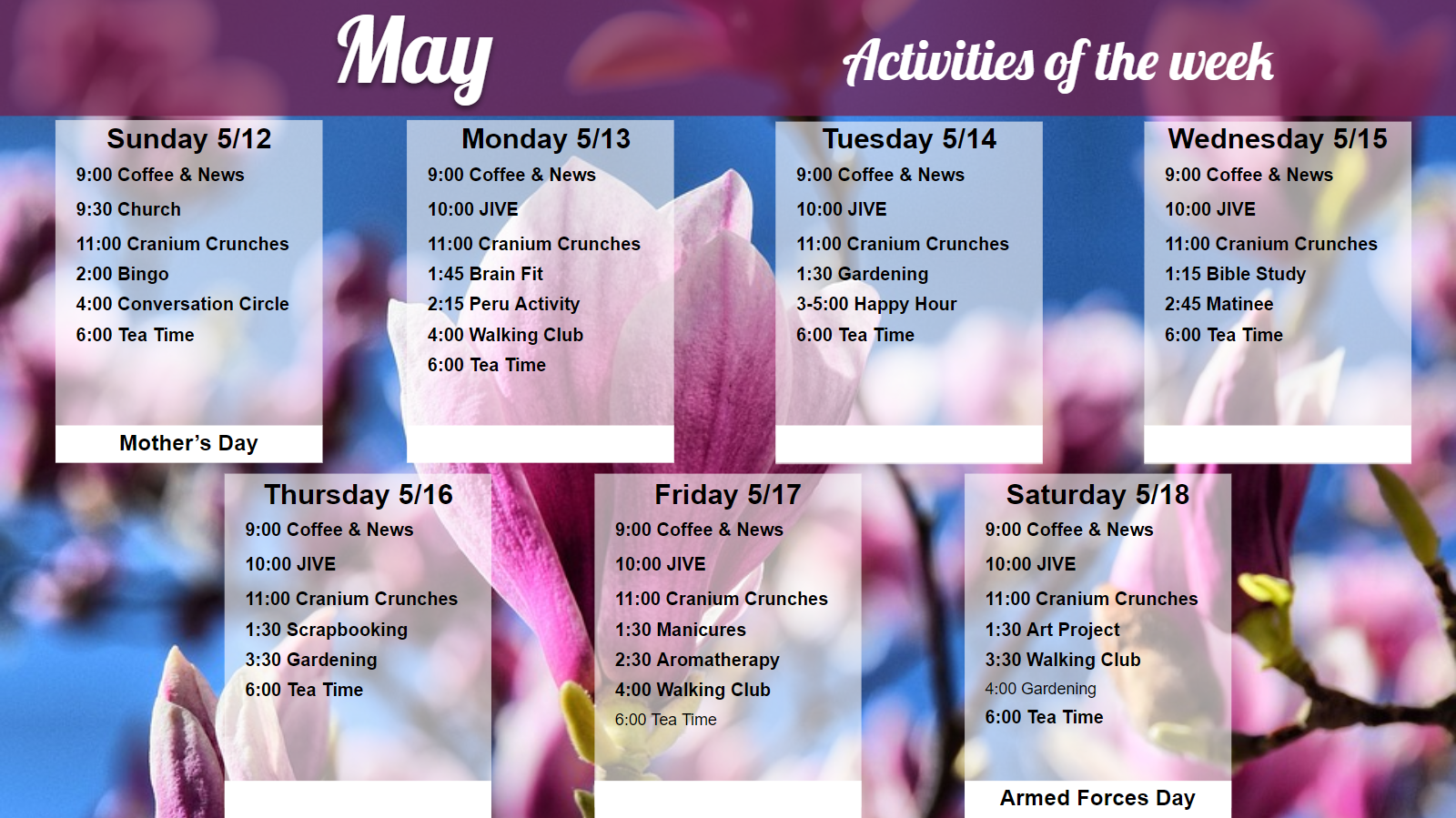 May Activities Menu